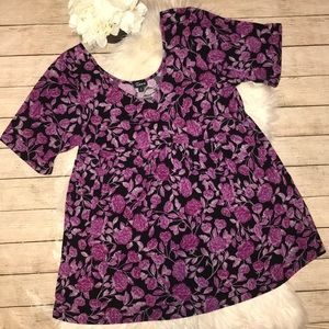 Torrid Rose Patch Cinched Studio Knit Babydoll Top